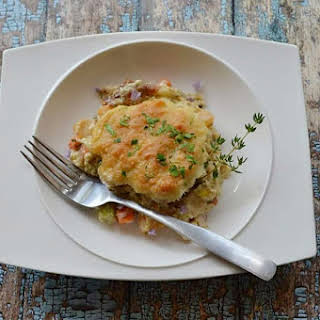 Keto Biscuit Chicken Pot Pie Casserole.