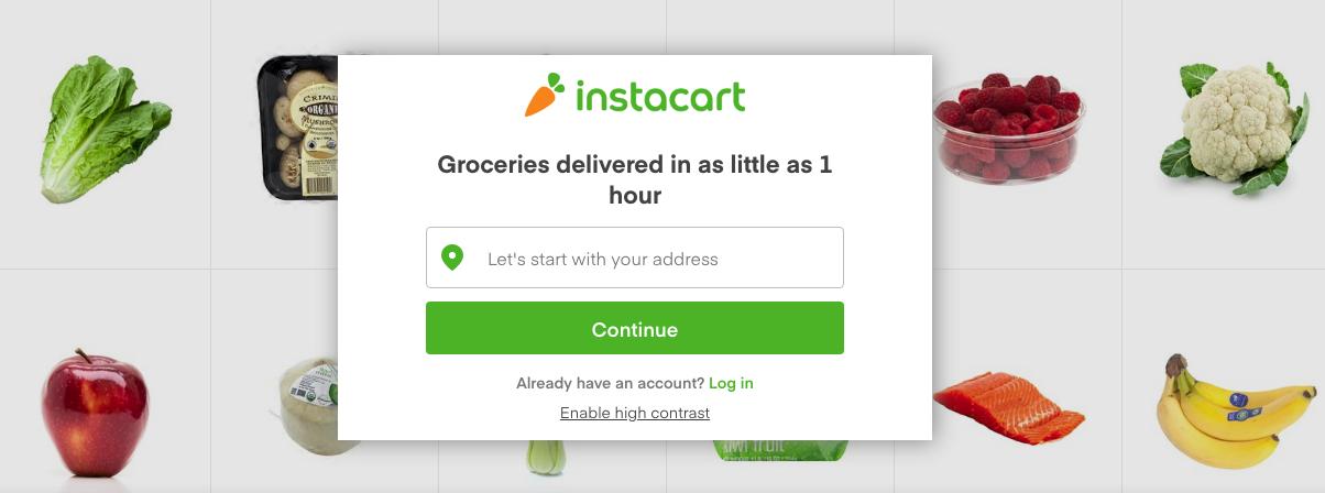 Instacart online grocery deliverer.