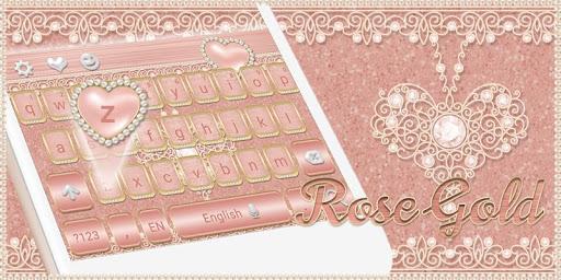 Rose Gold Keyboard Diamond Heart Theme 10001003 screenshots 4