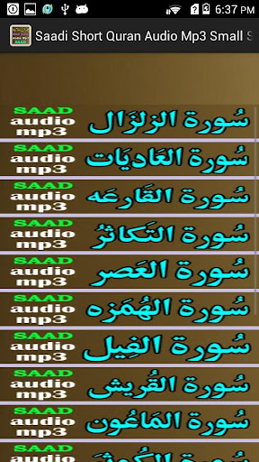 Saadi Short Quran Audio Mp3