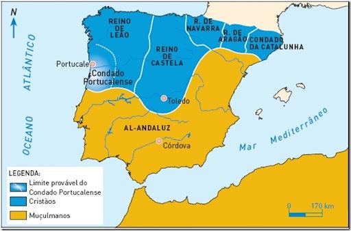 Mapa dos reinos cristãos no século XI
