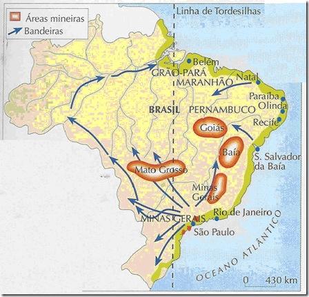 Bandeiras brasileiras e áreas mineiras