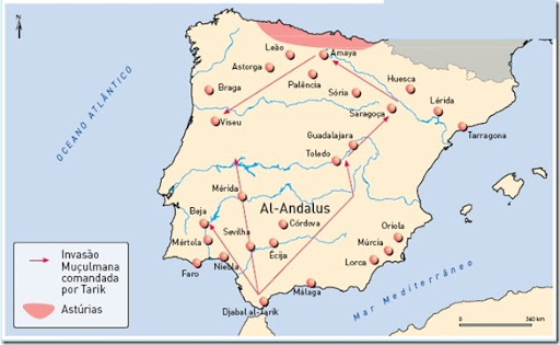 A Península Ibérica ocupada pelos Muçulmanos