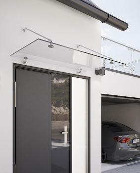 Auvent marquise de porte Davita, verre véritable, fixations inox, 140, 160, 180, 200 x 90 cm