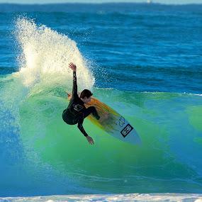 Morning spray by Julie Steele - Sports & Fitness Surfing ( turn, spray, steele, sunrise )