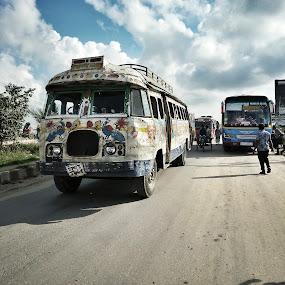 moyurponkhi..... by Ashif Hasan - Transportation Automobiles ( sky, bangladesh, bus, antique bus, ashif hasan, cloud, the last one in bangladesh, road, moyurponkhi, transportation, antique )