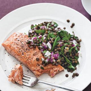Salmon With Warm Lentil Salad.