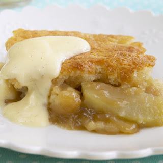 Apple Pudding Cake with Vanilla Custard