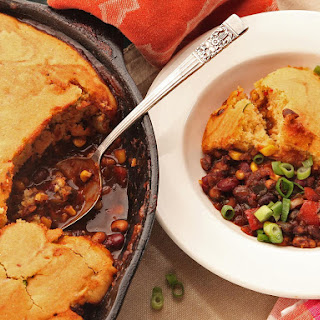 Quick and Easy Vegetarian Tamale Pie With Brown Butter Cornbread Crust.