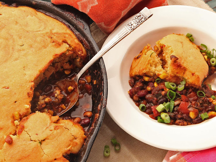 Quick and Easy Vegetarian Tamale Pie with Brown Butter Cornbread Crust Recipe