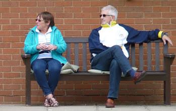 Photo: Shirley Jones & Dave Lane- Short Mat Committee discuss coming season.