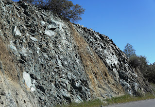 Photo: CA Route 198 in Priest Valley: Road cut in rock slide area
