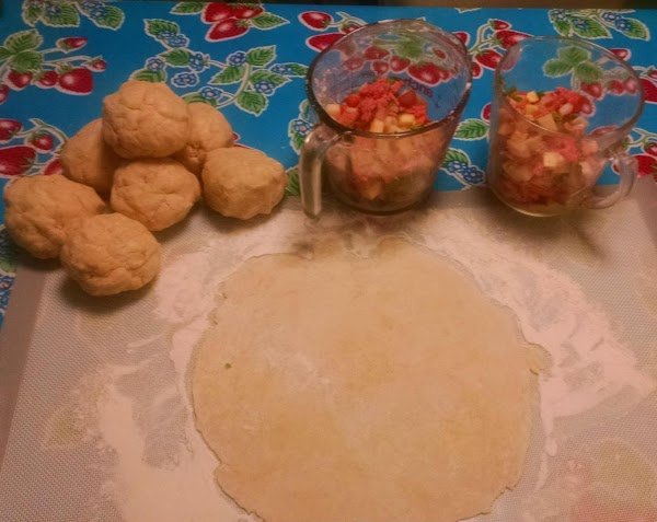 When mixed, cut the dough into 8 equal size/weight pieces to roll out. I...