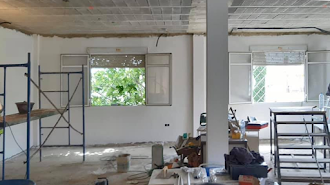 Obras del Salón de Usos Múltiples del municipio.