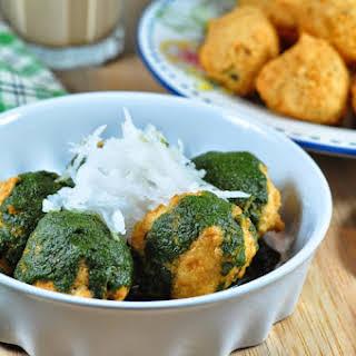 Ram ladoo/Ram laddu/ Gulgule/Deep fried split yellow mung beans fritters.