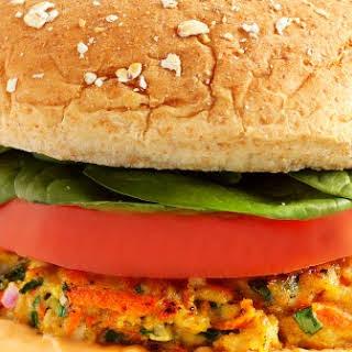 Turkey Burgers with Spinach and Sriracha Mayo.