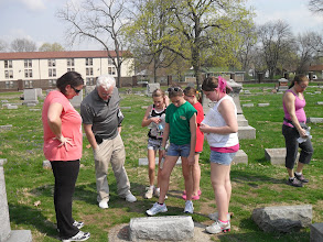 Photo: Girl Scouts at Crown Hill Cemetery YRE, Indianapolis IN- John Dillinger grave