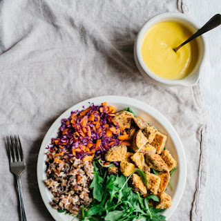 Crunchy Crusted Sweet Potato Lunch Bowl W/ Golden Dressing | V + Gf