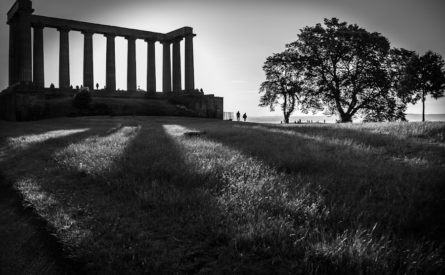 National Monument,Calton hill,Edinburgh. by Bob Dick - Buildings & Architecture Statues & Monuments ( tree, grass, black and white, monument, people, shadows,  )