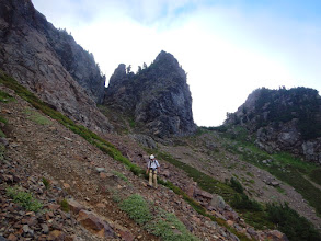 Photo: Rick descends from the notch
