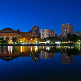 Boston Mass by Paul Gibson - Buildings & Architecture Office Buildings & Hotels ( skyline, reflection, boston, buildings, long exposure )
