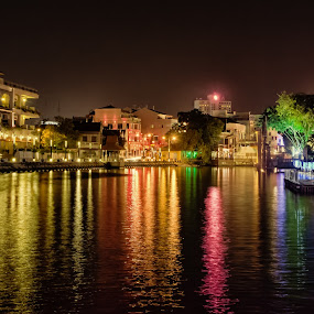 melaka nighttime by Lester Woodward - City,  Street & Park  Night ( lights, nighttime, melaka, printmarch2013, river )