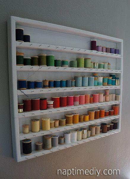 Shelf thread storage