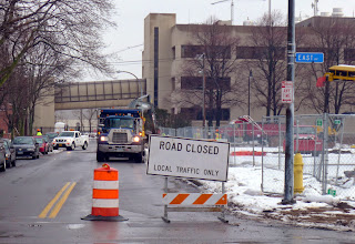 Photo: Today Probert Street closed and they began removing the sidewalk on the east side. That leaves the west sidewalk as the only route from our house to Harris (see the gerbil tube in the background; this is where Chuck Linn, Fred Kellerman, Douglas Perot and others get their exercise).