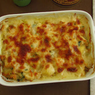 Cod Gratin In The Oven With Shrimp.