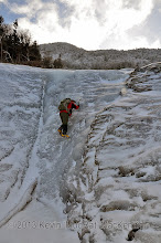 Photo: Scott climbing a chute (in summer) in the slide.