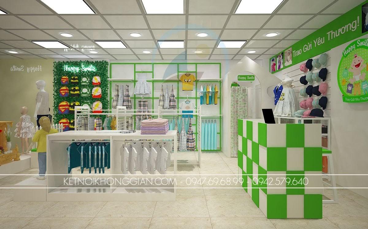 thiết kế shop thời trang trẻ em gọn gàng