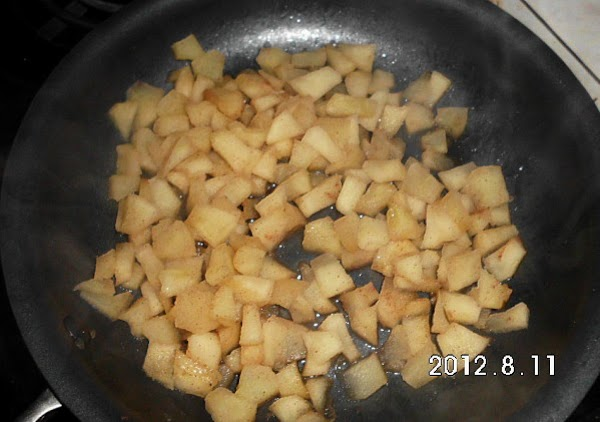 Peel, core and chop apples into small peices.  Add to a skillet with...