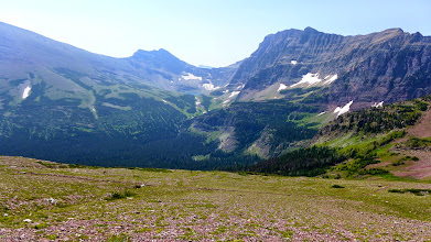Photo: Hikers heading up toward Red Gap Pass with Kennedy Lake in distance.