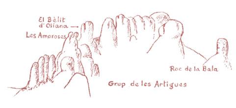 Photo: Les Encantades. Dibuix procedent de la web de UEC Mataró (no se'n cita l'autor)