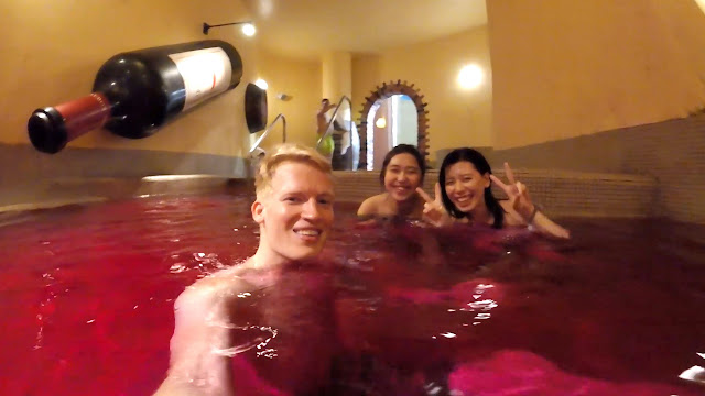 enjoy the Wine Spa at the Yunessun Water Park in Hakone, Japan in Hakone, Kanagawa, Japan