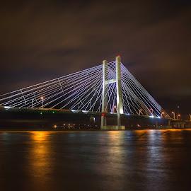 River Bridge  by Joshua Wagler - Buildings & Architecture Bridges & Suspended Structures ( iowa, winter, night, bridge, river )