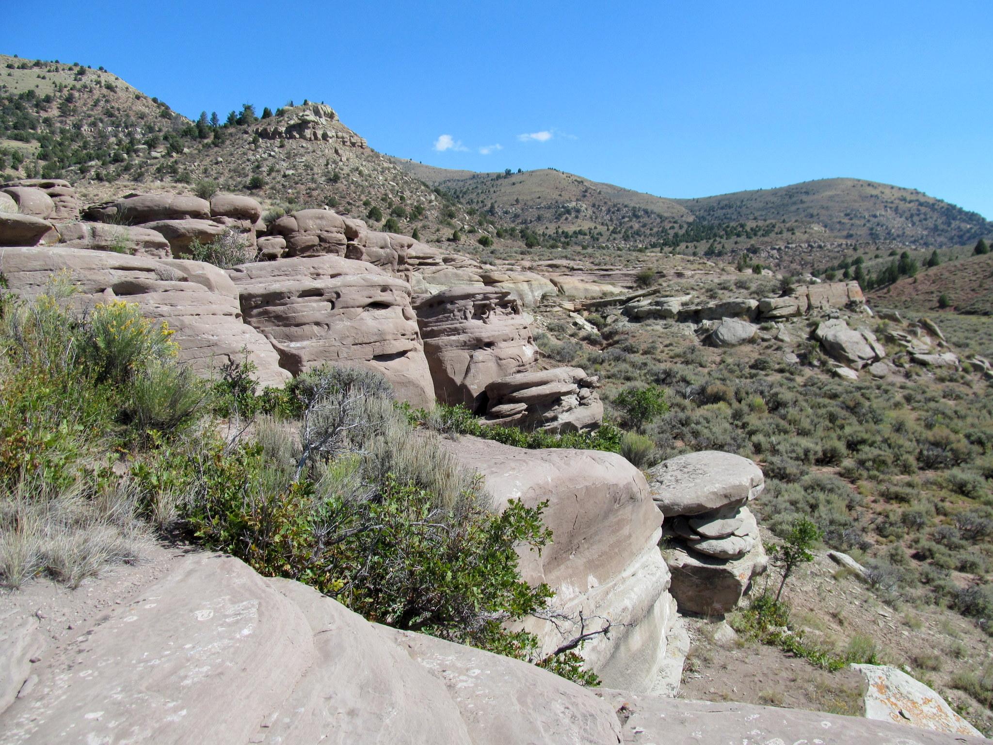 Photo: Sandstone ledges near the rock art