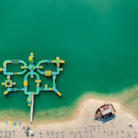 Beach by Péter Mocsonoky - City,  Street & Park  Vistas ( sand, green, relax, cool, beach, ship, water, lake, fun )