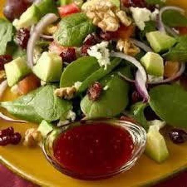 Raspberry Vinaigrette Instructions:  1/2 c. canola oil 10 frozen or fresh raspberries 3 Tbsp. raspberry vinegar, or...