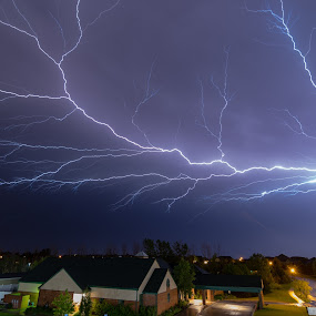 Balcony view by Matt Hollamon - City,  Street & Park  Night ( lightning, thunderstorm, night, nikon, nightscape, balcony view,  )
