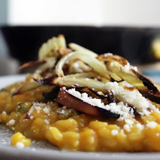 Pumpkin Risotto with Roasted Apple and Fennel