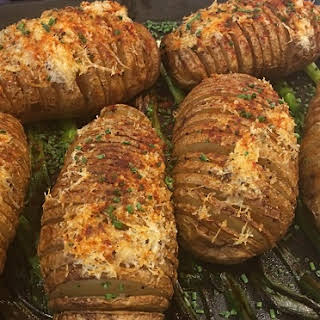 Hasselback Potatoes with Parmigiano-Reggiano.