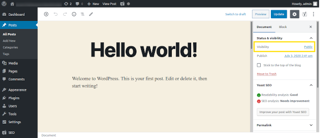Screenshot of how to set up a password for a WordPress post