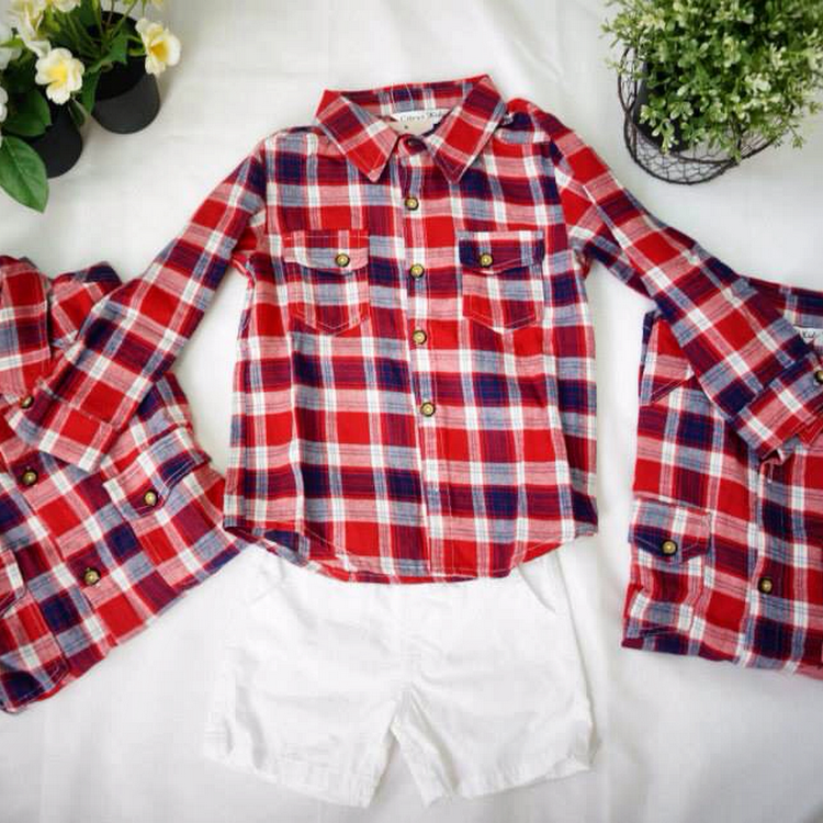 [3 Pieces] Long Sleeve Red Grid Shirt Set by Purple Grape Garment