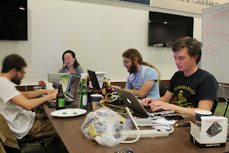 Photo: Late night hacking with team Smarter Sprinkler