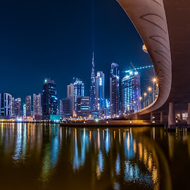 Dubai Skyline by Shabbir Shani - City,  Street & Park  Skylines ( expo city, skyline, blue hour, dubai skyline, city of light, bridge, tallest, burj khalifa )