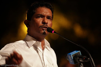 Photo: MP, Hoarafushi Constituency, Ahmed Rasheed, Speaking at MDP Rally Artificial Beach. Photo: Maapu