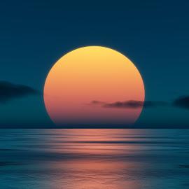Sunset by Markus Gann - Illustration Flowers & Nature ( water, orange, warm, horizon, sea, ocean, yellow, sun, red, nature, blue, sunset, wave, cloud,  )