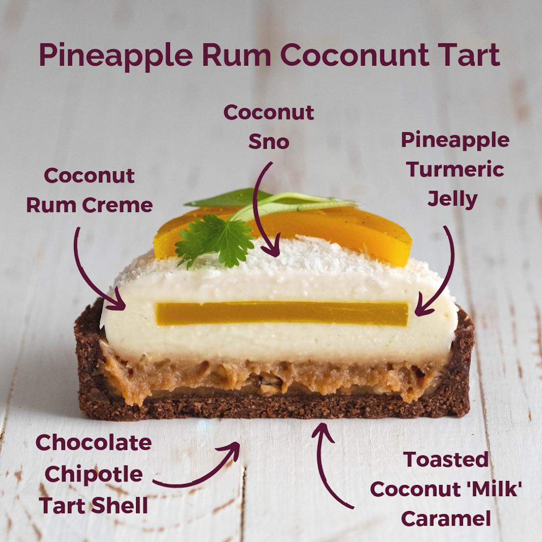 Pineapple Rum Tart on a white background