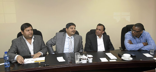 Ajay Gupta and younger brother Atul Gupta, Oakbay MD Jagdish Parekh with Duduzane Zuma in the heyday of their business enterprises in South Africa.